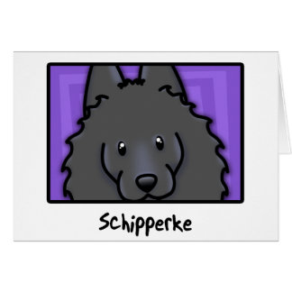 Cartoon Square Schipperke Card