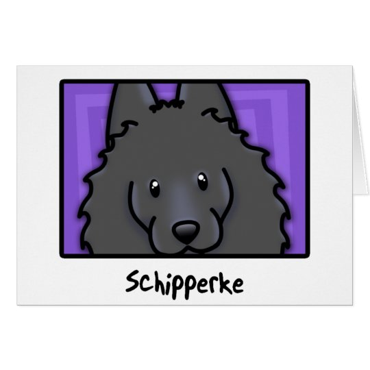 Cartoon Square Schipperke Card