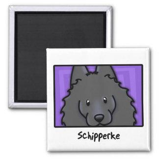 Cartoon Square Schipperke Magnet