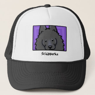 Cartoon Square Schipperke Trucker Hat