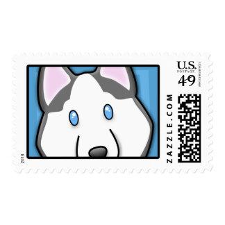 Cartoon Square Siberian Husky Stamps