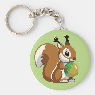 cartoon squirrel basic round button keychain
