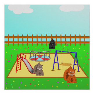 Cartoon Squirrels in a Playground from $12.80 Print
