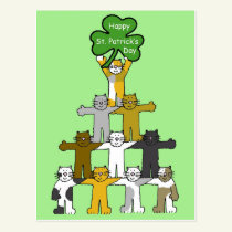 Cartoon St Patrick's Day Cats Postcard