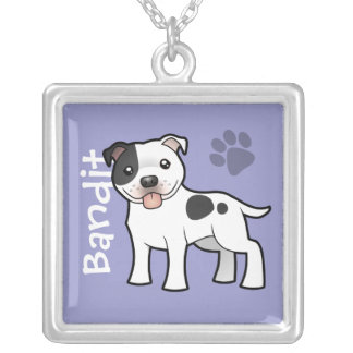 Cartoon Staffordshire Bull Terrier (add pets name) Necklaces