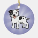 Cartoon Staffordshire Bull Terrier (add your msg) Double-Sided Ceramic Round Christmas Ornament