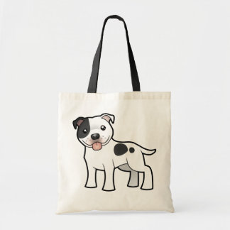 Cartoon Staffordshire Bull Terrier Tote Bags