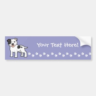 Cartoon Staffordshire Bull Terrier Bumper Sticker