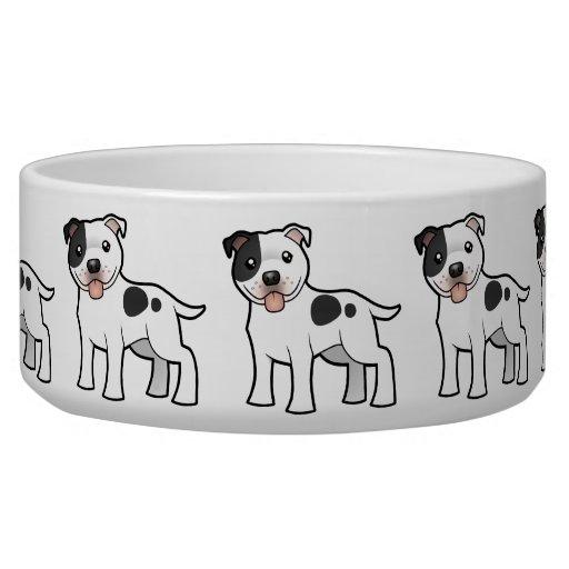 Cartoon Staffordshire Bull Terrier Dog Bowl
