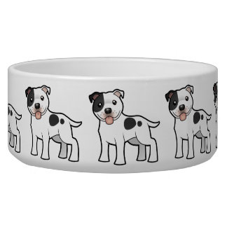 Cartoon Staffordshire Bull Terrier Dog Food Bowl