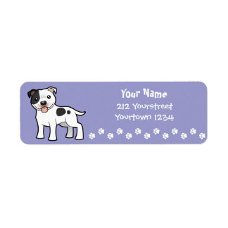 Cartoon Staffordshire Bull Terrier Label