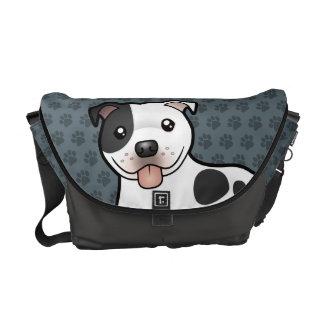 Cartoon Staffordshire Bull Terrier Messenger Bags