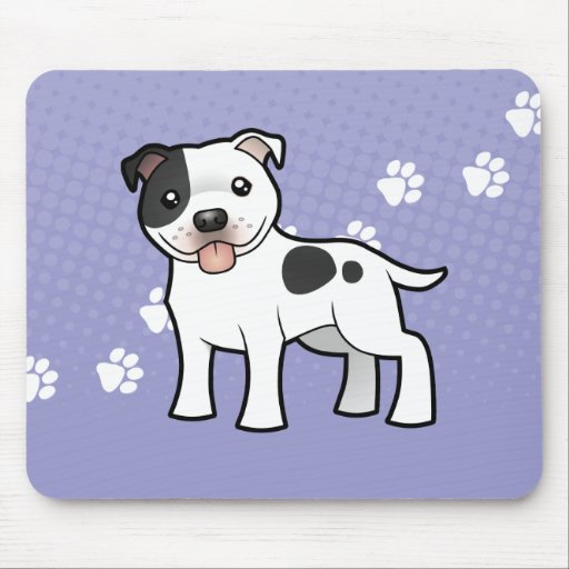 Cartoon Staffordshire Bull Terrier Mouse Pad