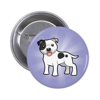 Cartoon Staffordshire Bull Terrier Pinback Button