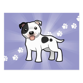 Cartoon Staffordshire Bull Terrier Postcard