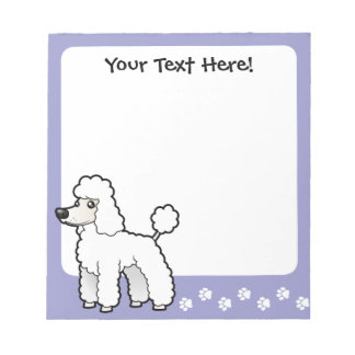 Cartoon Standard/Miniature/Toy Poodle Notepad