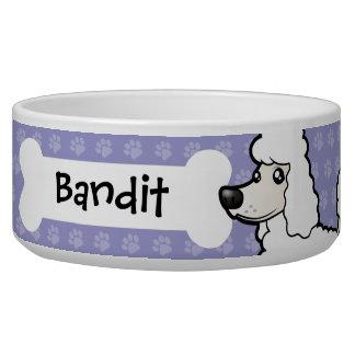 Cartoon Standard/Miniature/Toy Poodle Pet Water Bowl