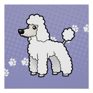 Cartoon Standard/Miniature/Toy Poodle (puppy cut) Poster