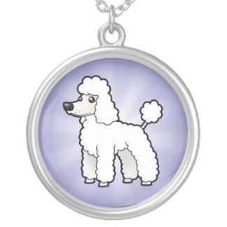 Cartoon Standard/Miniature/Toy Poodle Round Pendant Necklace
