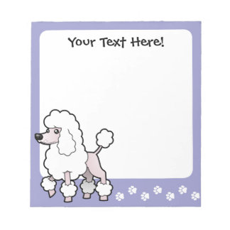 Cartoon Standard/Miniature/Toy Poodle (show cut) Notepad