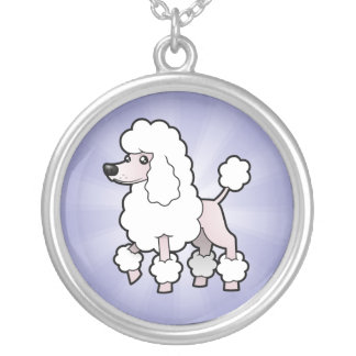Cartoon Standard/Miniature/Toy Poodle (show cut) Silver Plated Necklace