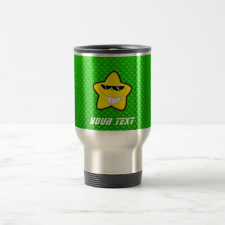 Cartoon Star; Green Travel Mug