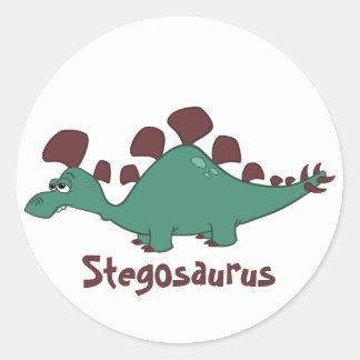 Cartoon Stegosaurus Round Sticker