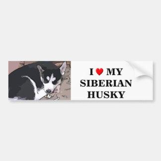 Cartoon sticker of a husky pup car bumper sticker