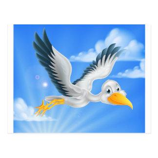 Cartoon stork bird animal character postcard