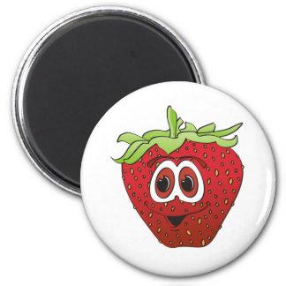 Cartoon Strawberry 2 Inch Round Magnet
