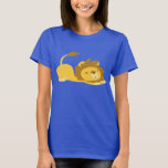 Cartoon Stretching Lion Women T-shirt