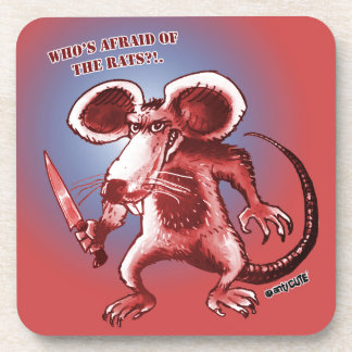 cartoon style angry rat white knife drink coaster