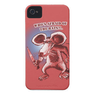 cartoon style angry rat white knife iPhone 4 cases