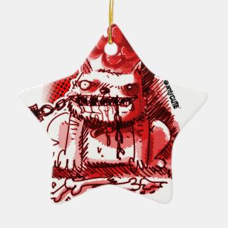 cartoon style anticute wild dog bite chain ceramic ornament
