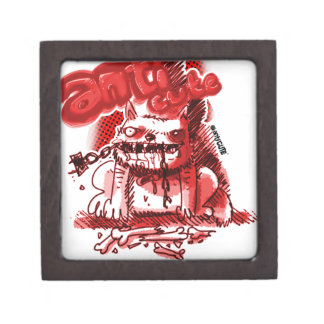 cartoon style anticute wild dog bite chain keepsake box