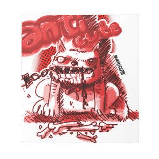 cartoon style anticute wild dog bite chain notepad