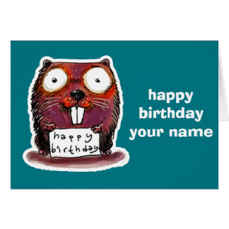 cartoon style beaver happy birthday message card