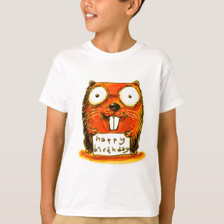cartoon style beaver holds happy birthday message T-Shirt