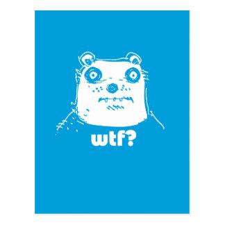 cartoon style blue bear postcard
