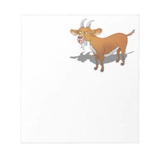 Cartoon style brown goat memo note pad