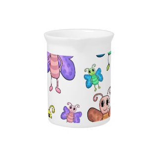 Cartoon style butterflies pitchers