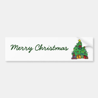 Cartoon Style Christmas Tree with Presents Bumper Sticker