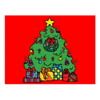 Cartoon Style Christmas Tree with Presents Postcard