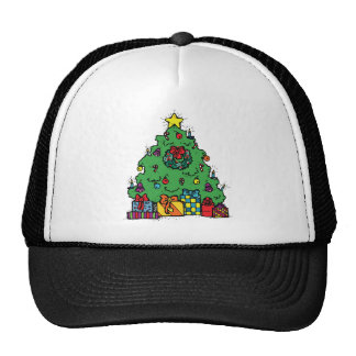 Cartoon Style Christmas Tree with Presents Trucker Hat