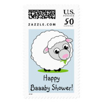 Cartoon style cute and cuddly white woolly sheep, postage