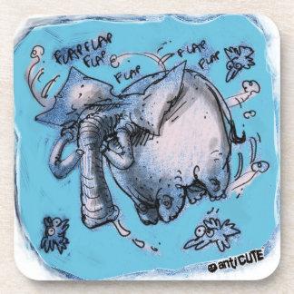 cartoon style flying dumbo elephant beverage coaster