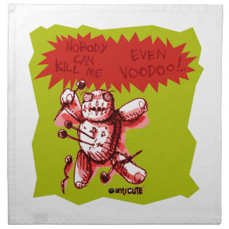 cartoon style funny voodoo baby green background cloth napkin