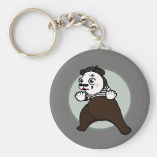 CARTOON STYLE GRIZZLY BEAR MIME ROUND KEY CHAIN