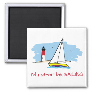 Cartoon-Style I'd Rather Be Sailing Illustration Magnet