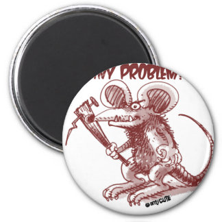 cartoon style illustration angry rat any problem magnet